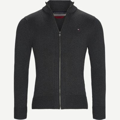 Chunky Cotton Zip Through Cardigan Regular | Chunky Cotton Zip Through Cardigan | Grå