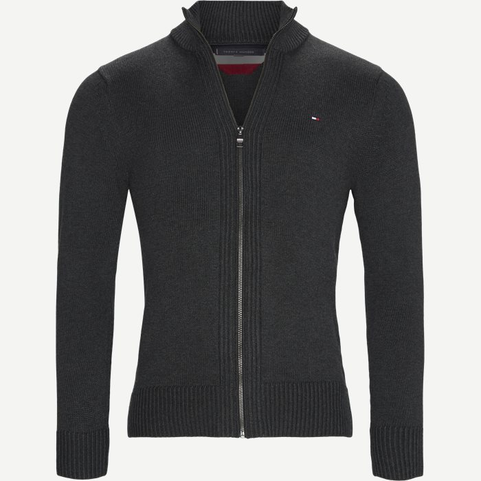 Chunky Cotton Zip Through Cardigan - Strik - Regular - Grå
