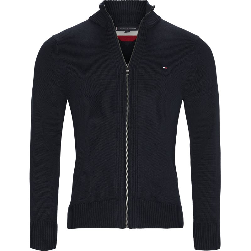 tommy hilfiger Tommy hilfiger - chunky cotton zip through cardigan på kaufmann.dk