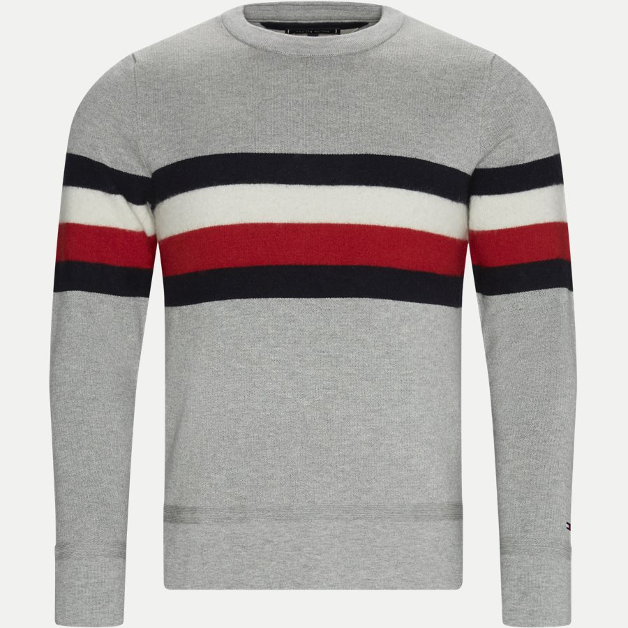 SOFT GLOBAL STRIPE SWEATER - Soft Global Stripe Sweater - Strik - Regular - GRÅ - 1
