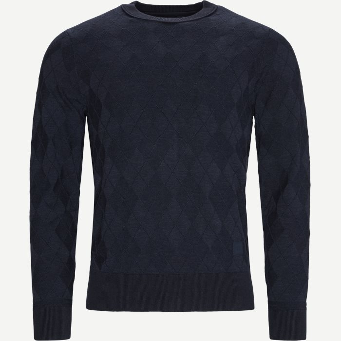 Tonal Textured Argyle Sweater - Strik - Regular - Blå