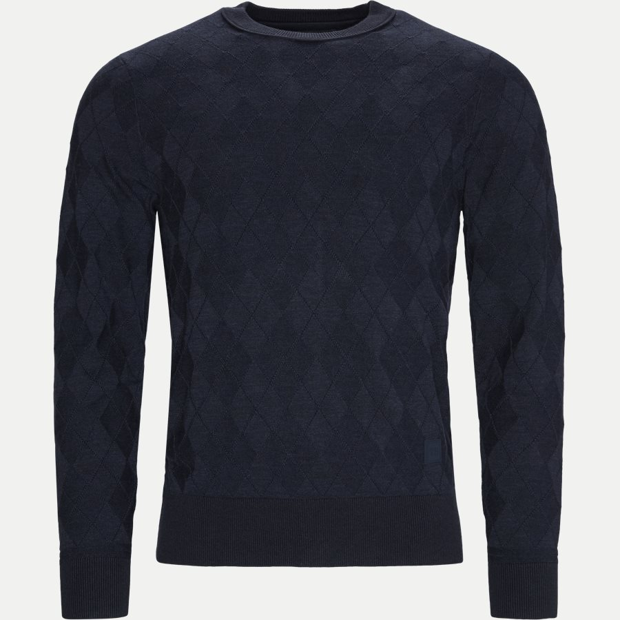 TONAL TEXTURED ARGYLE SWEATER - Tonal Textured Argyle Sweater - Strik - Regular - NAVY - 1