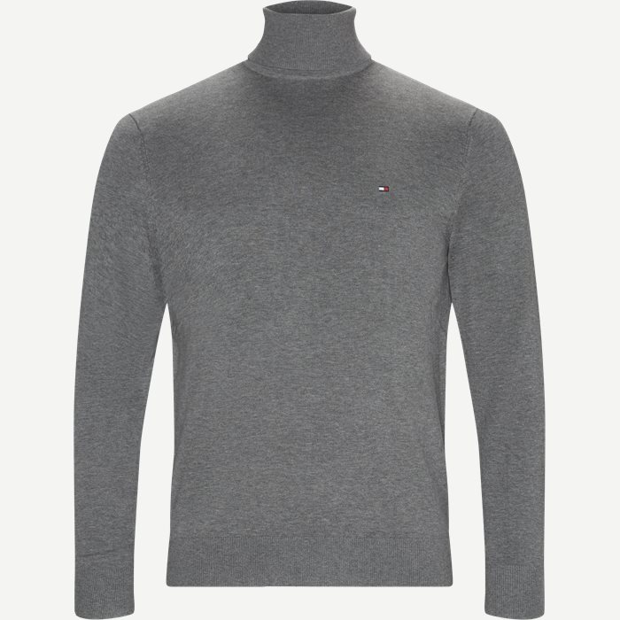Organic Cotton Silk Roll neck - Strik - Regular - Grå