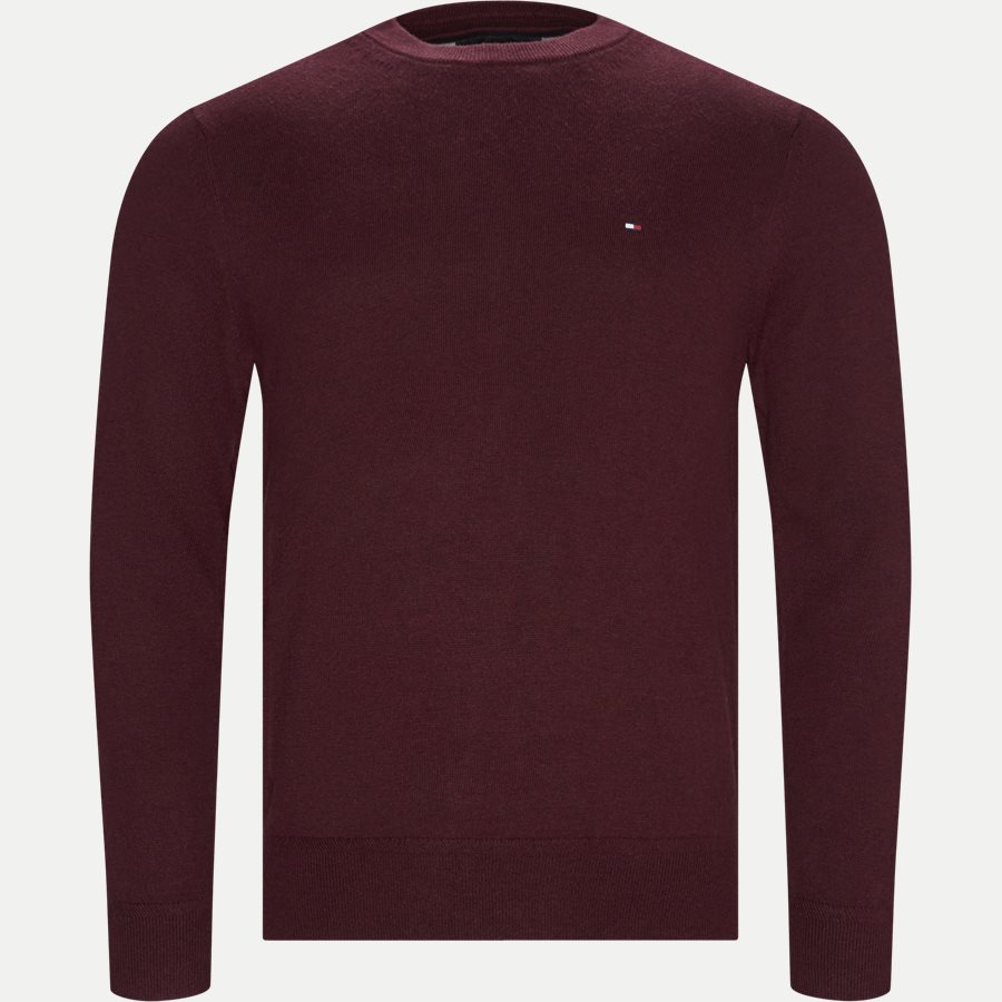 PIMA COTTON CASHMERE CREW NECK - Pima Cotton Cashmere Crew Neck - Strik - Regular - BORDEAUX - 1
