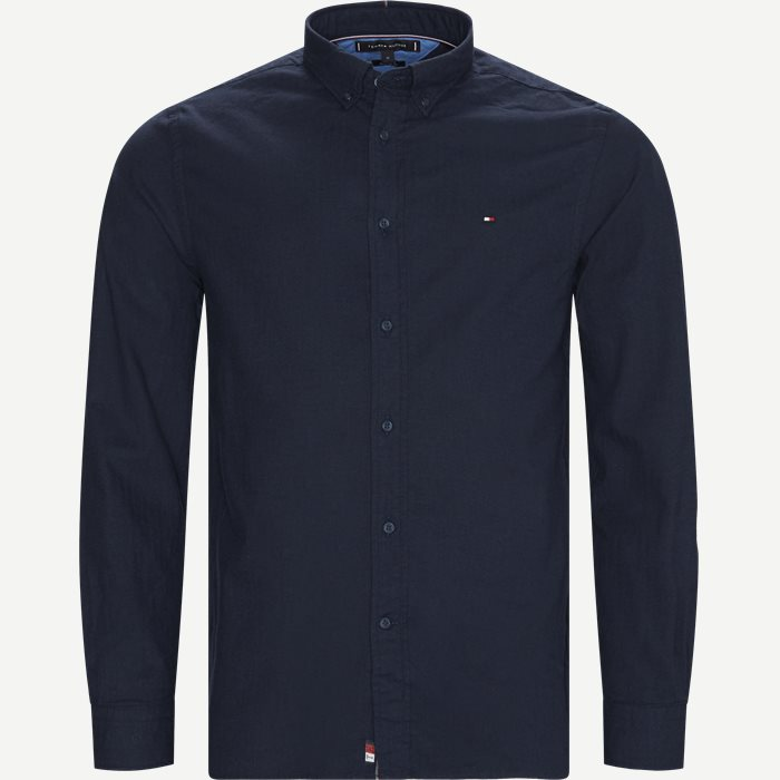 Flex Herringbone Shirt - Skjorter - Regular - Blå