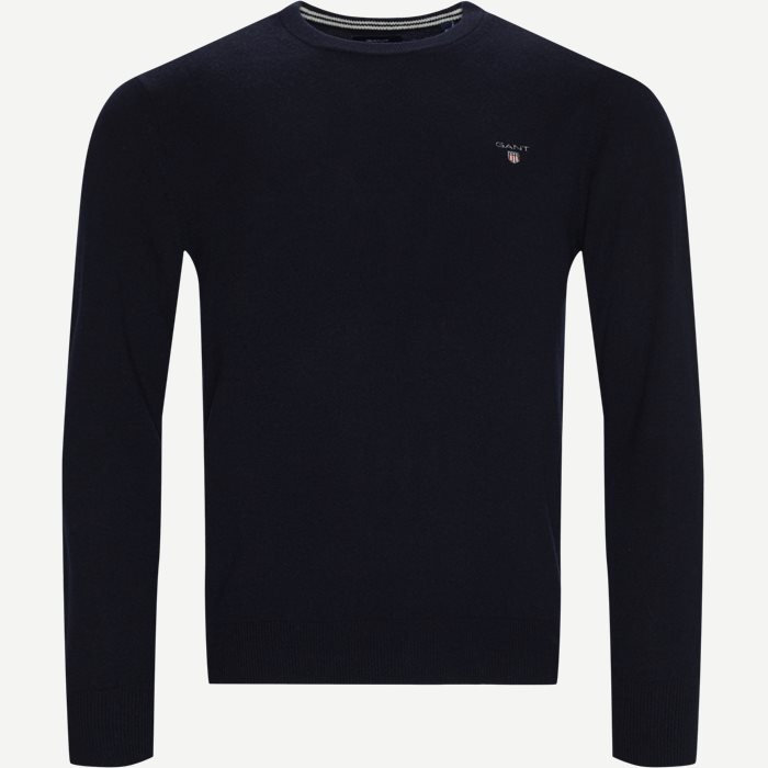 Superfine Lambswool Crew Neck Knit - Strik - Regular - Blå