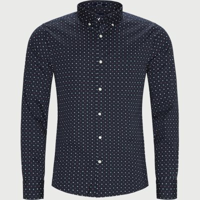 D1 Micro Scribble Print Shirt Regular | D1 Micro Scribble Print Shirt | Blå