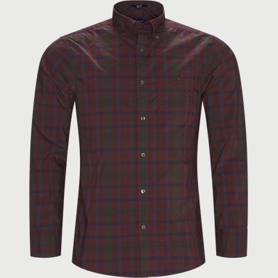 D2 TP Broadcloth Plaid Skjorte Regular | D2 TP Broadcloth Plaid Skjorte | Bordeaux