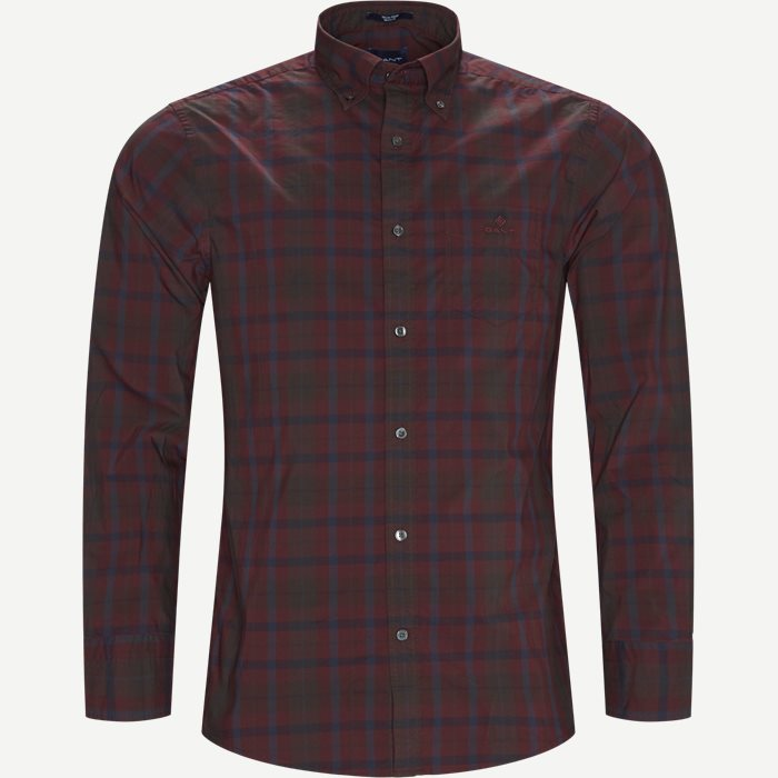 D2 TP Broadcloth Plaid Skjorte - Skjorter - Regular - Bordeaux