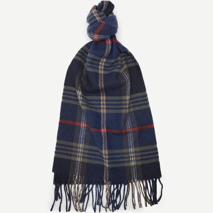 D2 Twill Checked Wool Scarf - Tørklæder - Blå