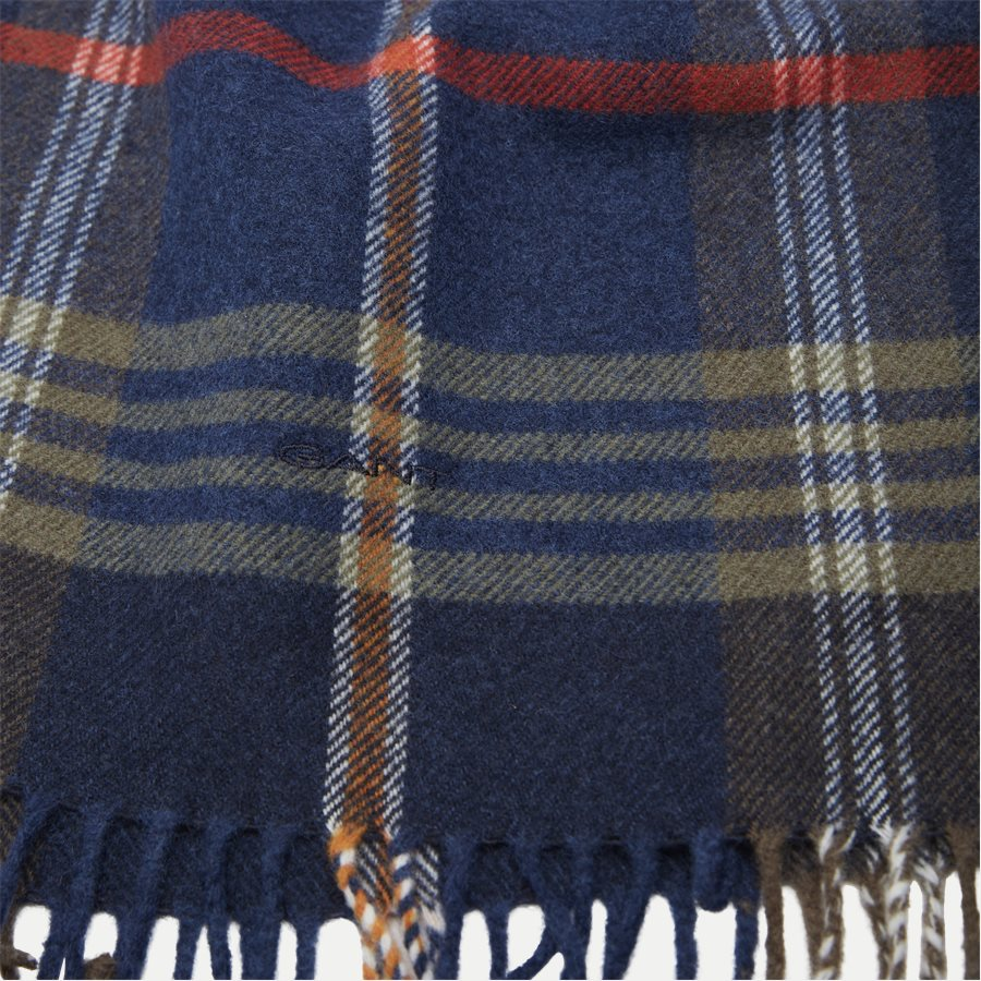 D2 TWILL CHECKED WOOL SCARF - D2 Twill Checked Wool Scarf - Tørklæder - NAVY - 2