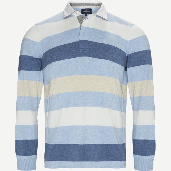 Langærmet Polo T-shirt - T-shirts - Regular - Blå