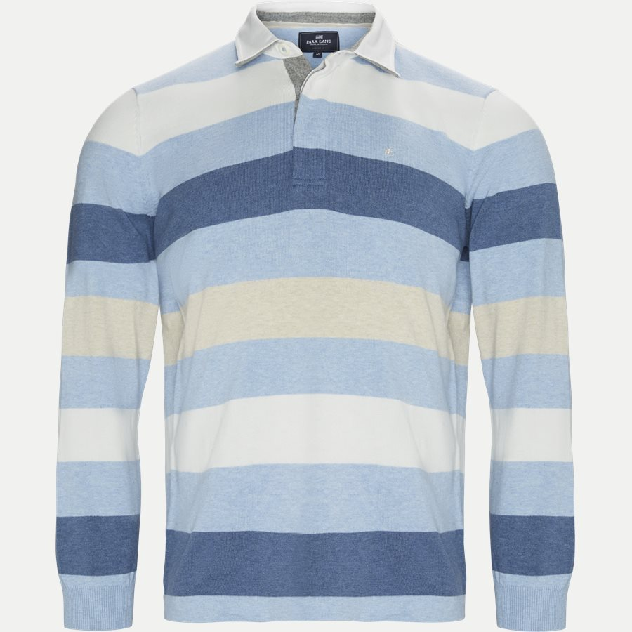 1640 RUGGER KNITTED STRIPED - Langærmet Polo T-shirt - T-shirts - Regular - LYSBLÅ - 1
