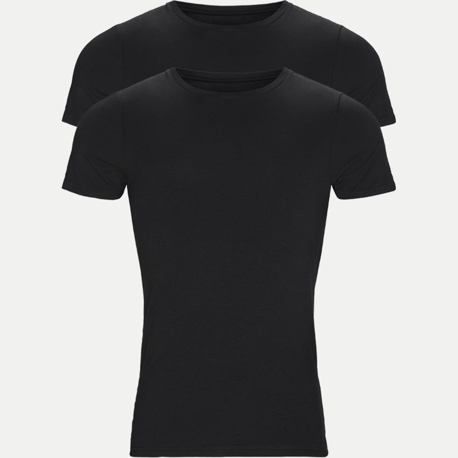 1080-2 BAMBOO 2-PACK O-NECK - Bamboo Crew Neck T-shirt 2-pack - Undertøj - Regular - SORT - 1