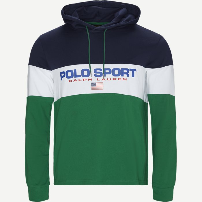 Cotton Polo Hoodie  - Sweatshirts - Regular - Grøn