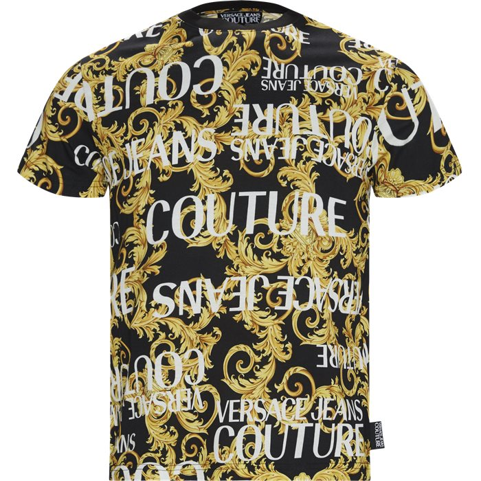 J. Cot. Print Sprous Barqoque - T-shirts - Slim - Sort