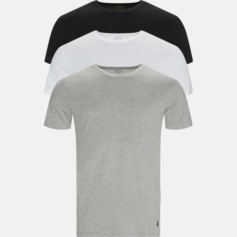 714709274 CREW 3 PACK - 3-Pack Classic Cotton Crewneck T-shirt - Undertøj - Slim - GRÅ/HVID/SORT - 1