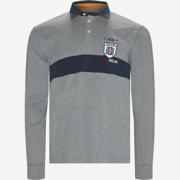L/S Jersey Interlock Polo T-shirt - T-shirts - Regular - Grå