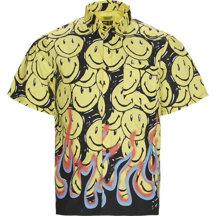 Smiley Flames SS Shirt - Skjorter - Regular - Sort