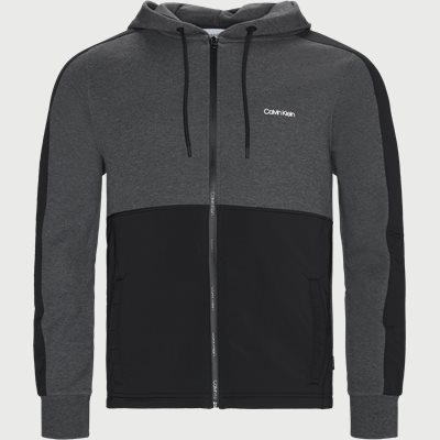 Mix Media Zip Through Hoodie  Regular | Mix Media Zip Through Hoodie  | Grå