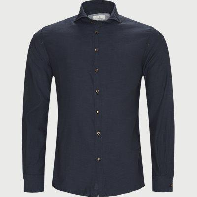 Shirt Solid Melange Flanel Casual fit | Shirt Solid Melange Flanel | Blå