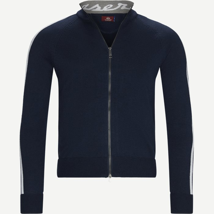 Man Triot Full Zip Cardigan - Strik - Regular - Blå