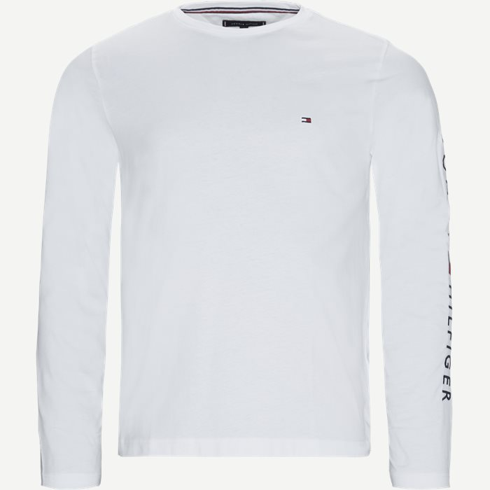 Tommy Logo Long Sleeve T-shirt - T-shirts - Regular - Hvid