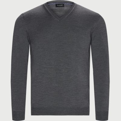 Merino Emb. Dustin V-neck Strik Regular | Merino Emb. Dustin V-neck Strik | Grå