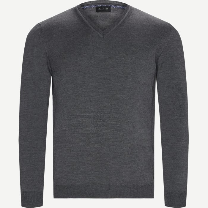 Merino Emb. Dustin V-neck Strik - Strik - Regular - Grå