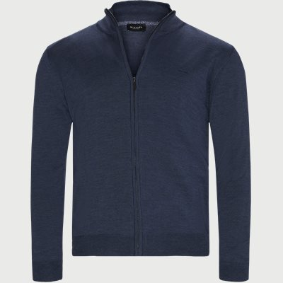 Merino Embr. Ingram Cardigan Regular | Merino Embr. Ingram Cardigan | Denim