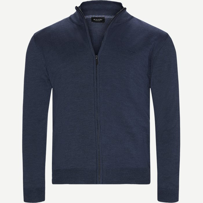 Merino Embr. Ingram Cardigan - Strik - Regular - Denim