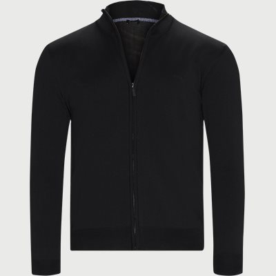 Merino Embr. Ingram Cardigan Regular | Merino Embr. Ingram Cardigan | Sort