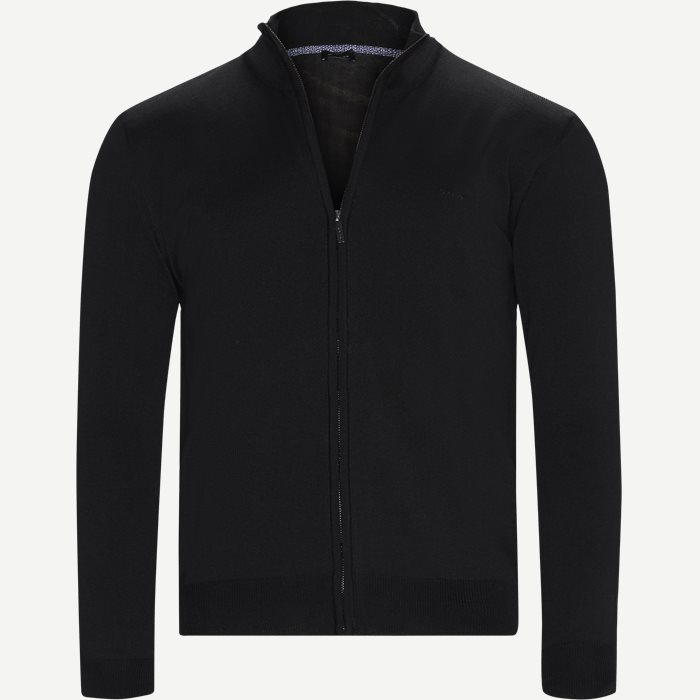 Merino Embr. Ingram Cardigan - Strik - Regular - Sort