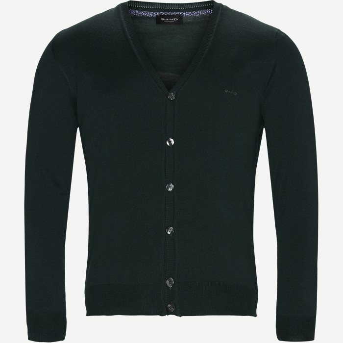Merino Embr. Ice Cardigan - Strik - Regular - Grøn