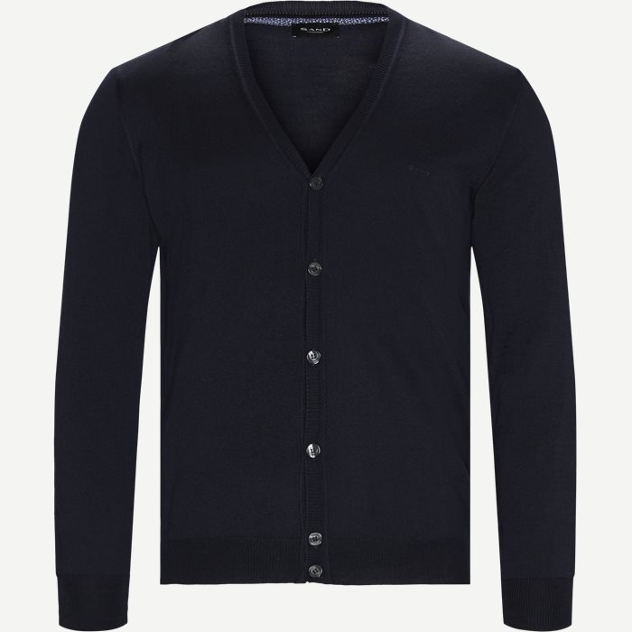 Merino Embr. Ice Cardigan - Strik - Regular - Blå