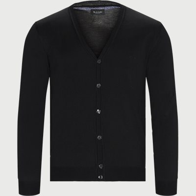 Merino Embr. Ice Cardigan Regular | Merino Embr. Ice Cardigan | Sort