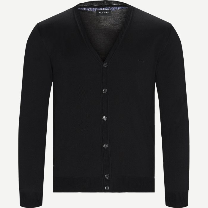 Merino Embr. Ice Cardigan - Strik - Regular - Sort