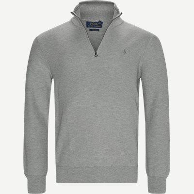 Cotton Half-Zip Striktrøje Regular | Cotton Half-Zip Striktrøje | Grå