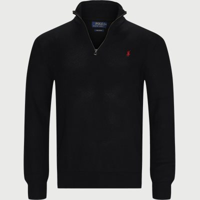 Cotton Half-Zip Striktrøje Regular | Cotton Half-Zip Striktrøje | Sort