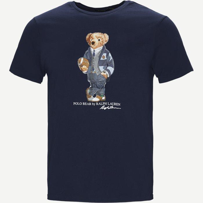 Custom Slim Fit Bear T-shirt - T-shirts - Regular slim fit - Blå