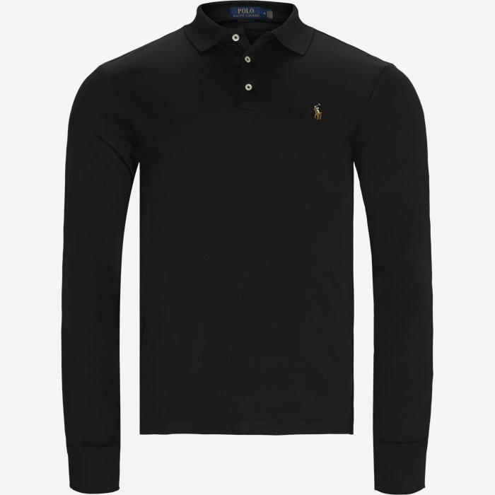 Long Sleeve Polo T-shirt - T-shirts - Slim - Sort