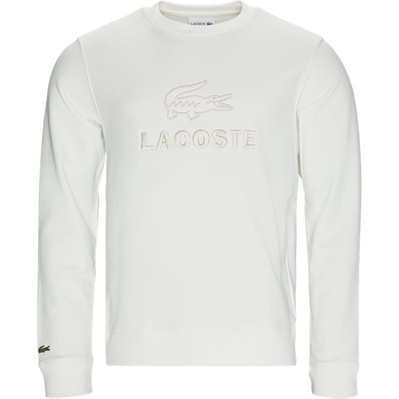 Image of   Lacoste Embroidered Logo Cotton Fleece Sweatshirt Hvid