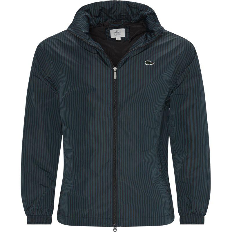 lacoste Lacoste striped light zip jacket grøn fra quint.dk