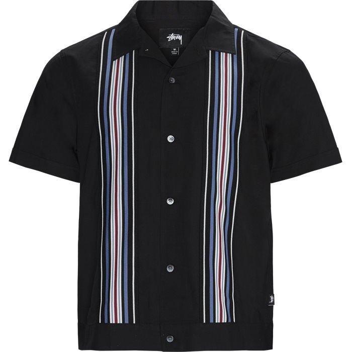 Striped Knit Panel Shirt - Skjorter - Regular - Sort