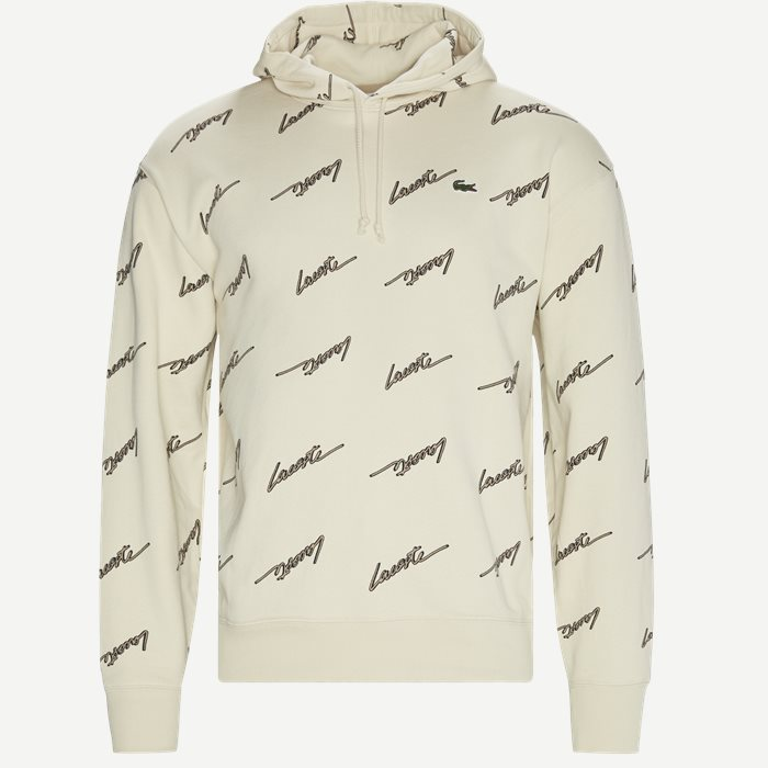Hooded Print Fleece Sweatshirt - Sweatshirts - Regular - Sand