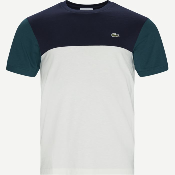 Colourblock Cotton Tee - T-shirts - Regular - Blå