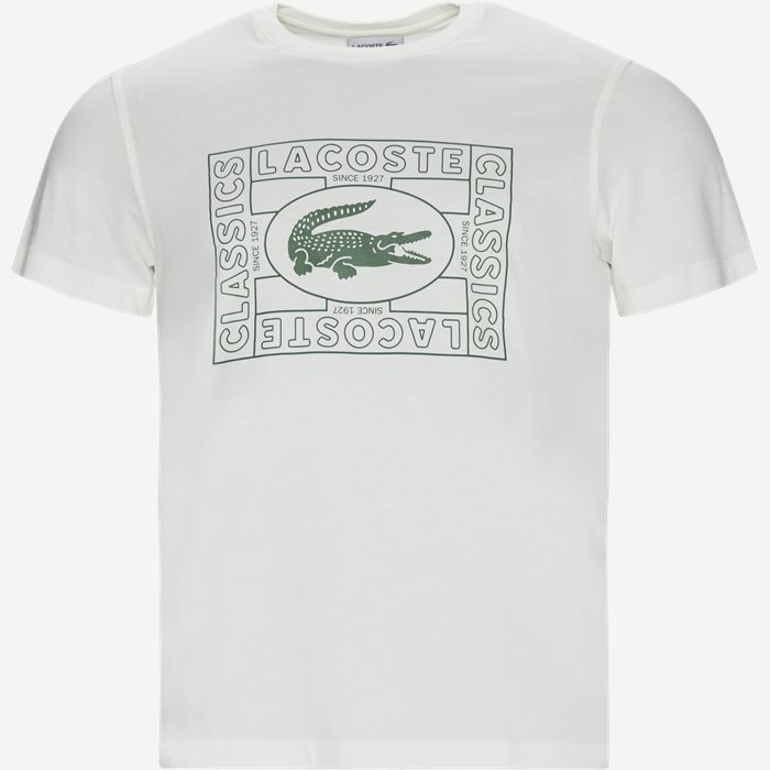 Crocodile Print Crew Neck T-shirt - T-shirts - Regular - Hvid