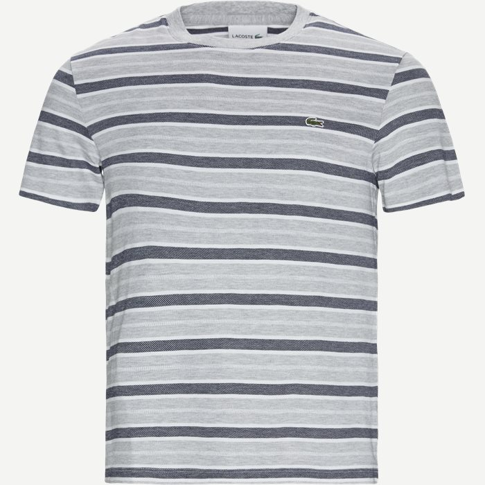 Striped Crew Neck T-shirt - T-shirts - Regular - Grå
