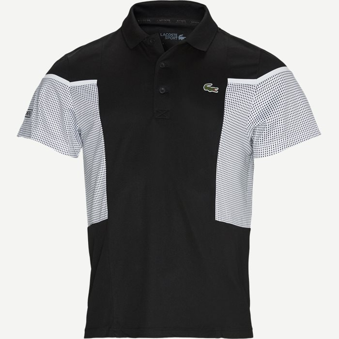 Mesh Panel Breathable Tennis Polo Shirt - T-shirts - Regular - Sort