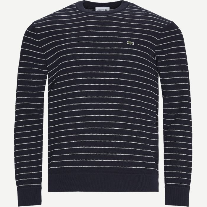 Striped Textured Cotton Sweater - Strik - Regular - Blå